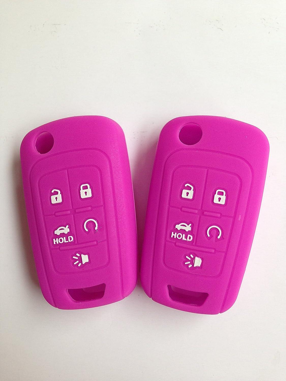TCKEY 2pcs Hot Pink Fob Key Cover Holder Key Jacket for 2015-2016 Chevrolet Camaro Cruze Volt Equinox Spark Malibu Sonic Aveo Caprice OHT01060512