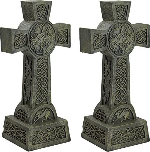 Design Toscano DB925692 Donegal Celtic High Set of Two-Irish Cross Memorial Statue