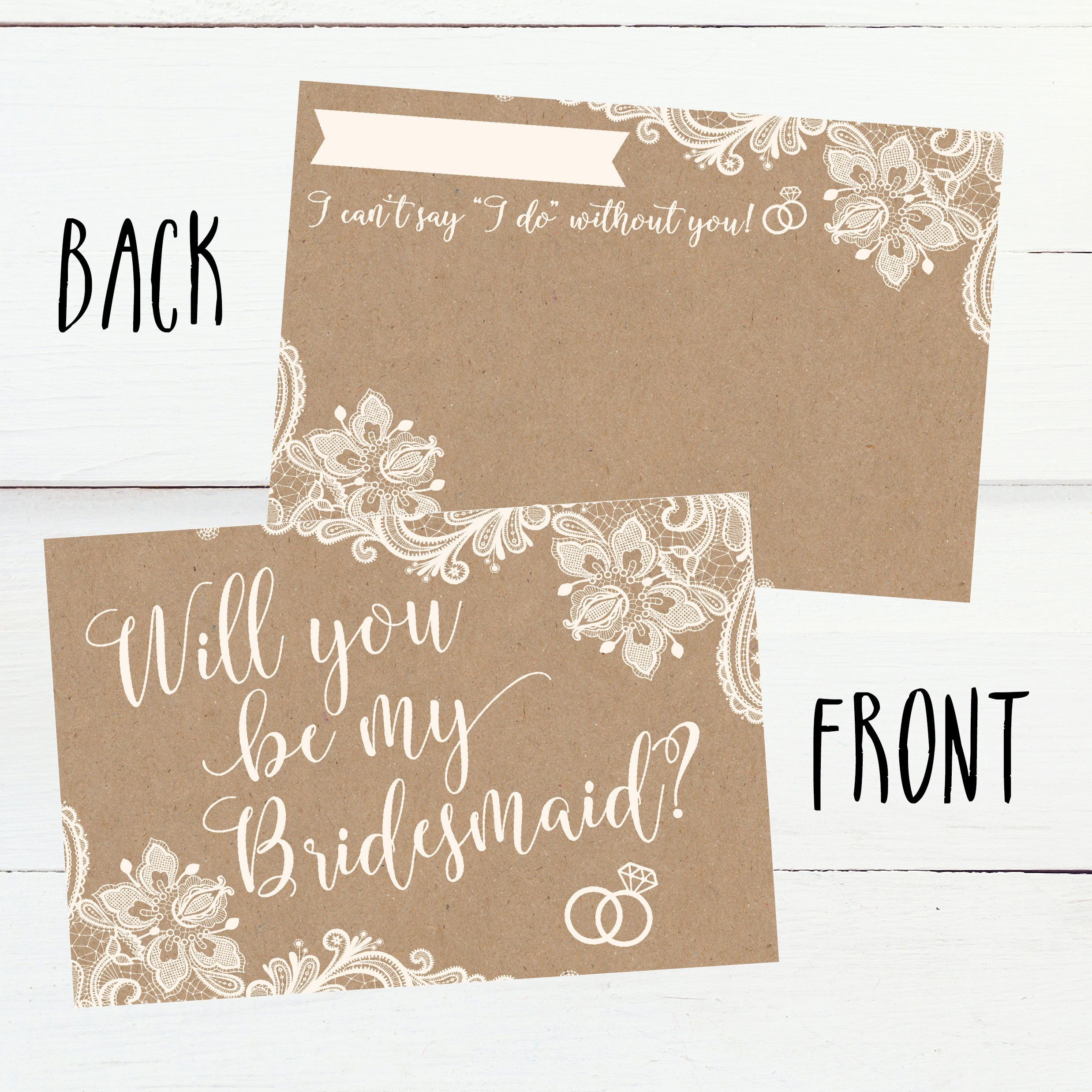15 Will You Be My Bridesmaid Cards Kraft Lace I Can T Say I Do
