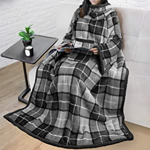 PAVILIA Sherpa Fleece Wearable Blanket with Sleeves for Adult Women Men | Blanket with Arms Pocket Throw for Couch Sofa Home | Cozy Warm Super Soft Plush Lightweight (Plaid Gray)