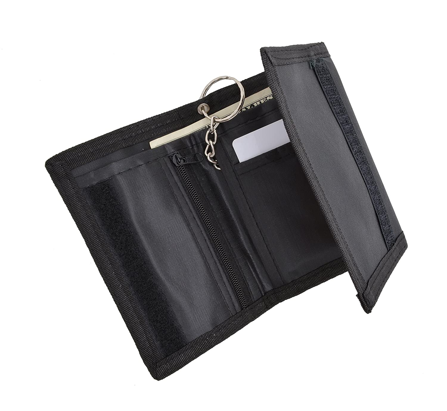 Mens Nylon Credit Card ID Holder Trifold Chain Wallet 836TA