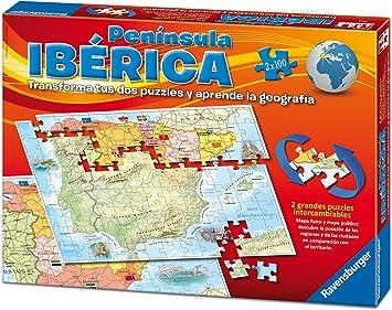 Ravensburger 24027, Puzzle Doble Mapa Península Ibérica España ...