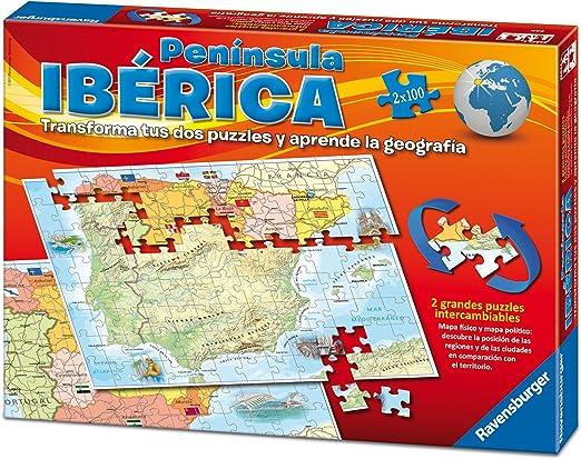 Ravensburger 24027, Puzzle Doble Mapa Península Ibérica España Fisico Y Politico, pack con 2 X 100 Piezas: Amazon.es: Juguetes y juegos