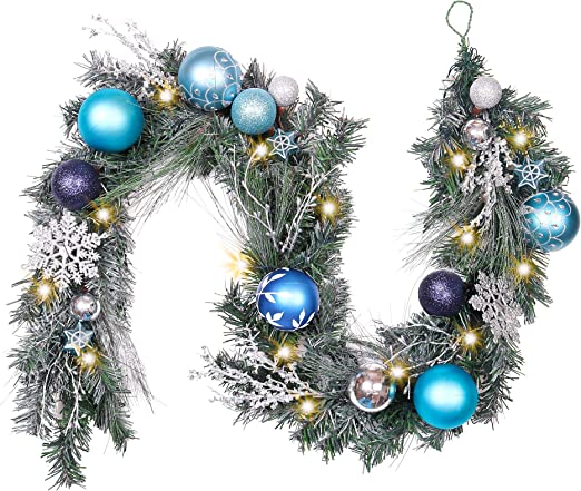6ft  Pre-Lit Luxury Christmas  Black and Silver LED Garland 20Led