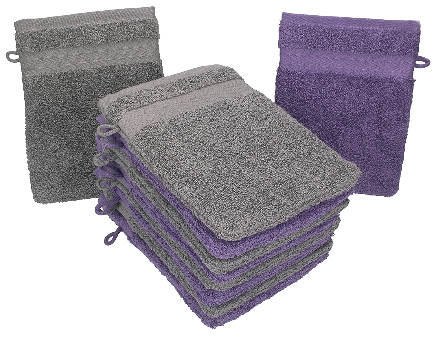 Betz Pack of 10 Wash Glove Mitts PREMIUM 100% Cotton 16x21 cm (purple & anthracite grey)
