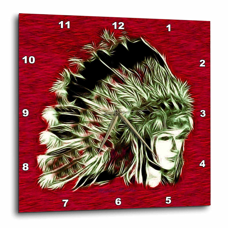 Indian Princess E 3dRose SmudgeArt Aboriginal Art Designs dpp/_15640/_1 10x10 Wall Clock