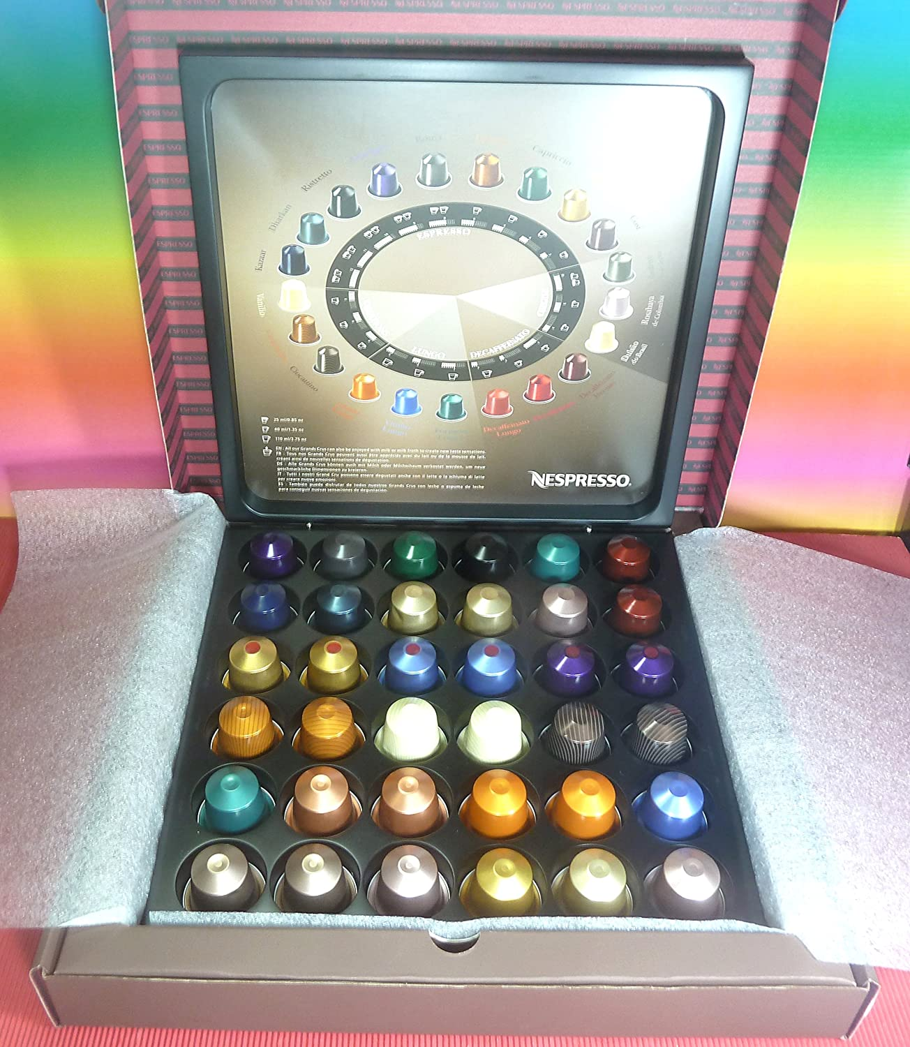 Nespresso 36 x Assorted Capsules, With Free Wooden Case - Gift Box - Pod Holder. (Capacity 36 capsules) Full Box