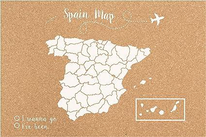 Decowood - Mapa de Corcho España, Pequeño, para Marcar Tus Viajes y Colgar en la Pared, Blanco - 60x45cm: Amazon.es: Hogar