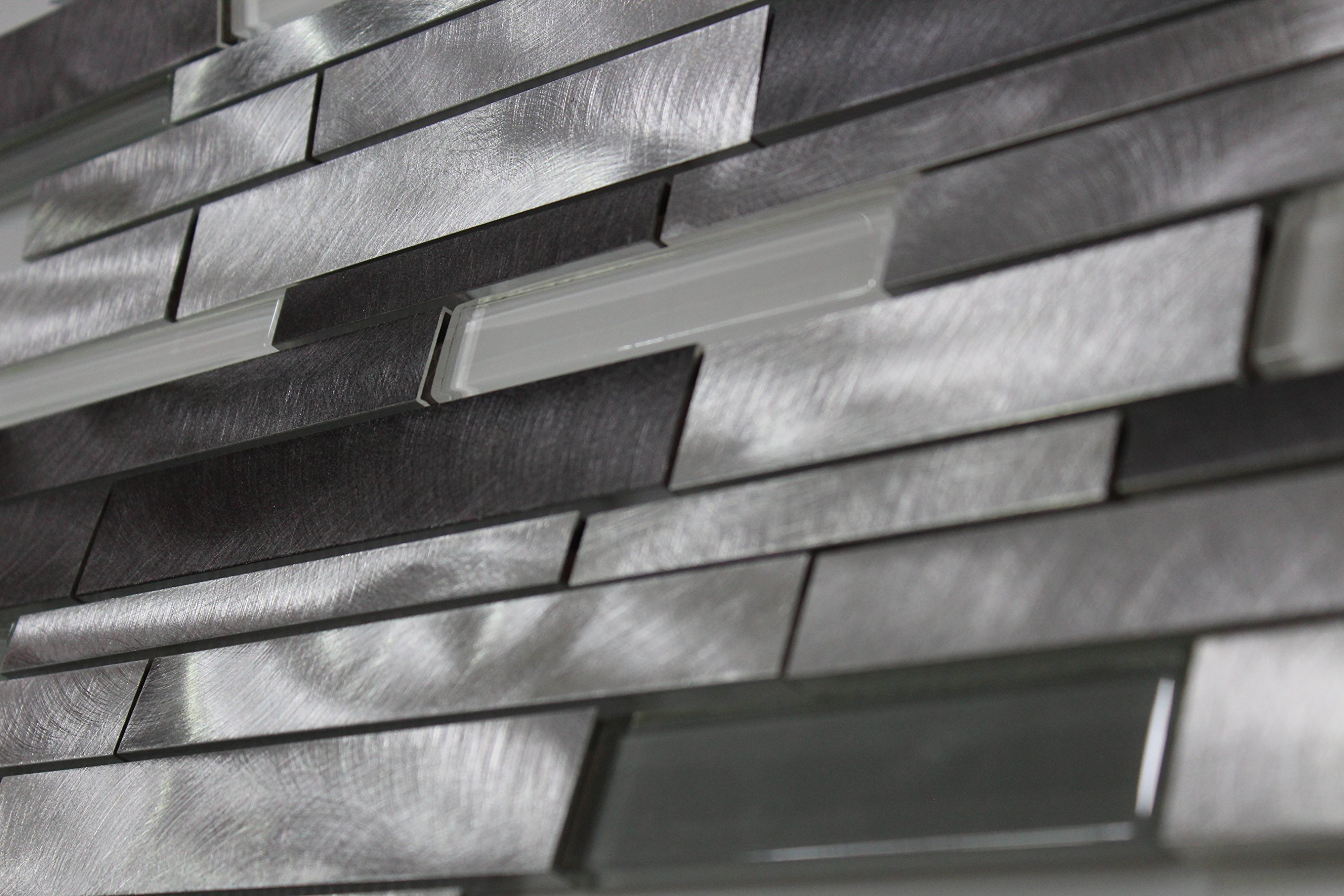 WS Tiles: Twilight Series Interlocking Glass and Aluminum in Gray, Backsplash, Mesh-Mounted Mosaic Tile for Kitchen & Bathroom - 12 in x 12 in x 8mm - Pack of 10 Sheets