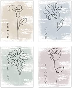 Boho Minimalist Flower Line Art Watercolor Multicolor Abstract Farmhouse Positive Wall Art Posters Home Living Room Decor Simple Aesthetic Rose Daisy Tulip Wildflower Pictures Prints Kitchen Bedroom