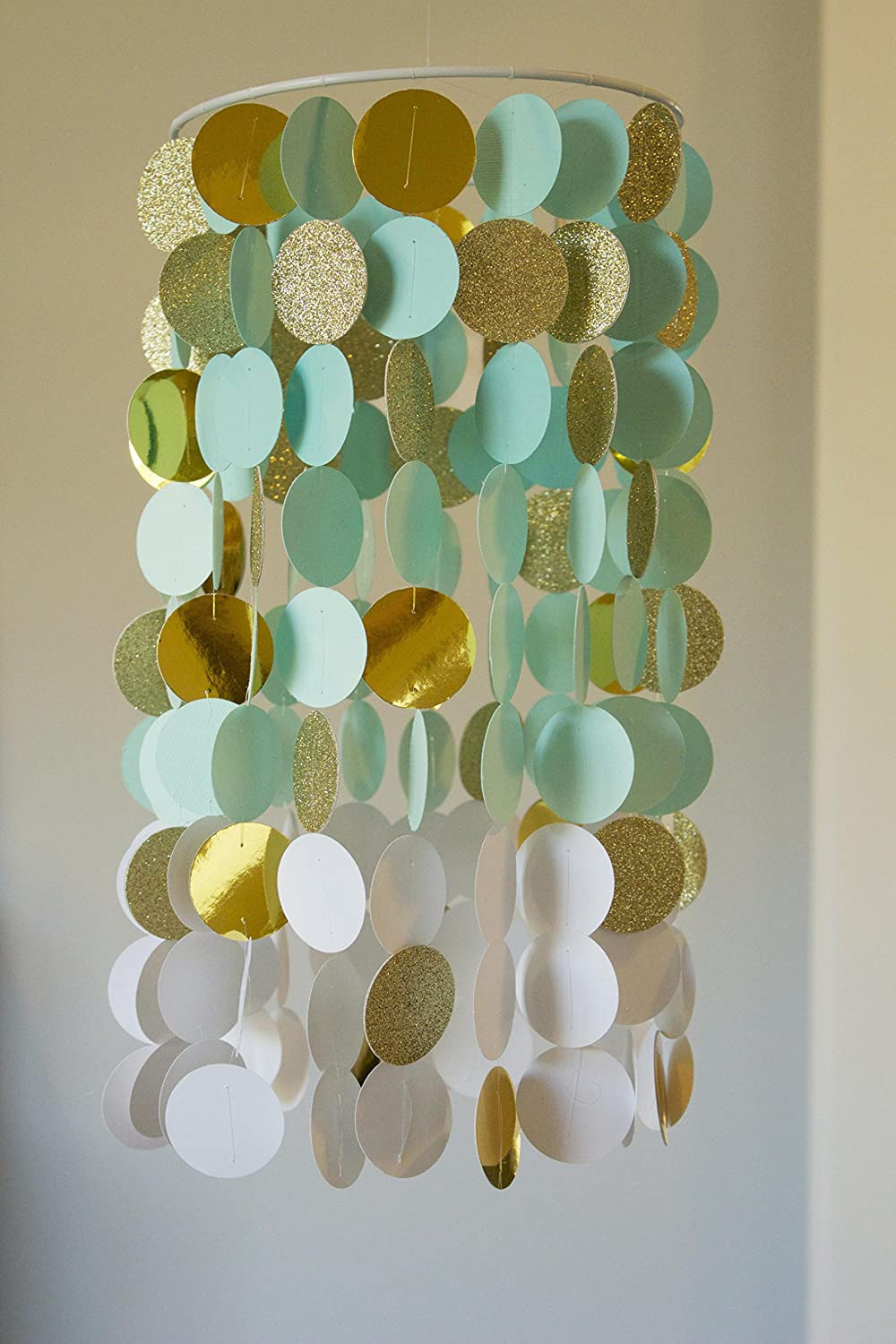 Seafoam and Gold Ombre Crib Mobile