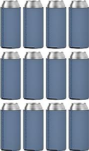 TahoeBay Slim Can Coolers (12-Pack) Blank Neoprene Beer Sleeves (Steel Blue)