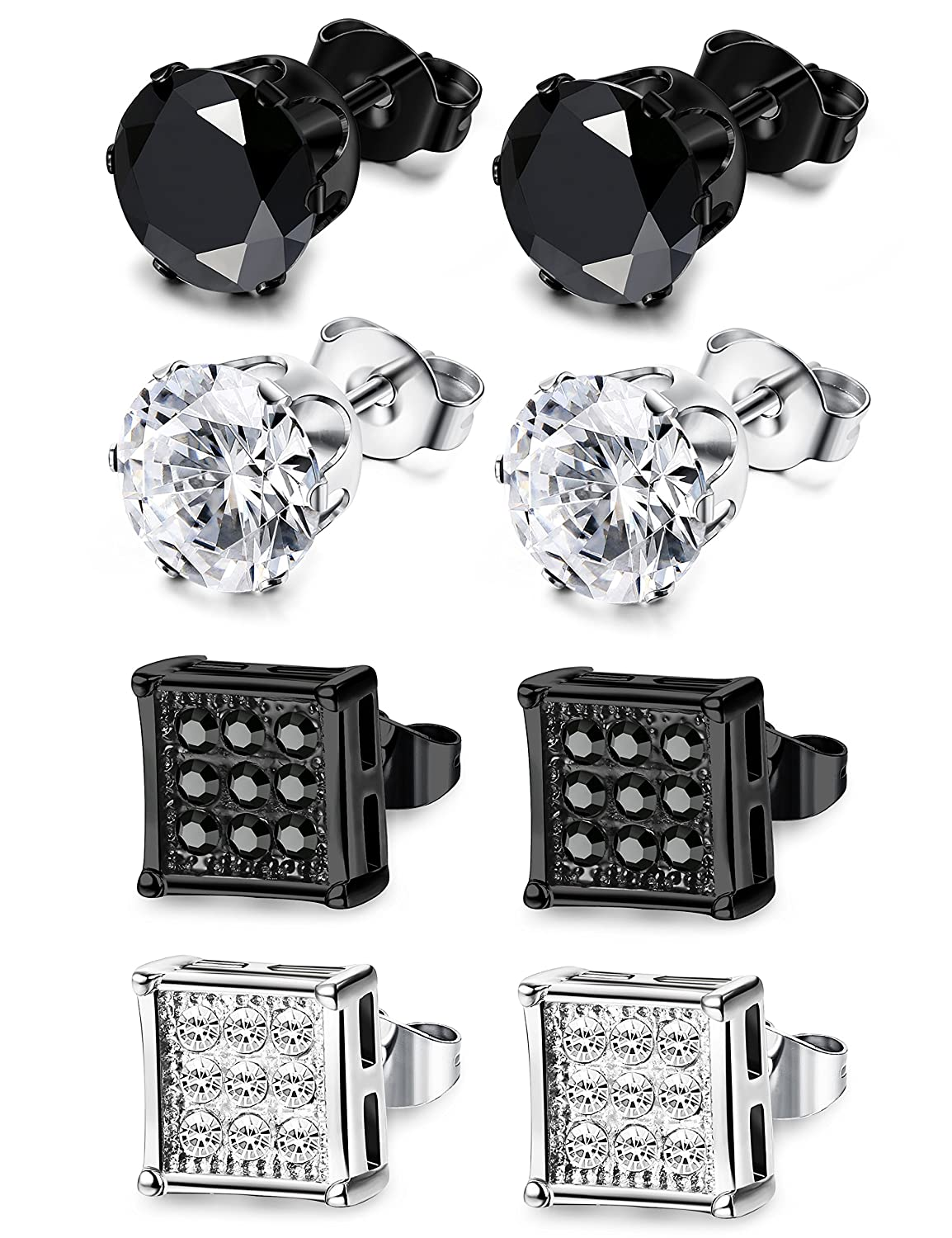 JOERICA 4 Pairs Stainless Steel Stud Earrings for Men Women Earrings CZ Inlaid, 6-8mm 6-8mm (A:6mm) ER-6BCZ-4PX