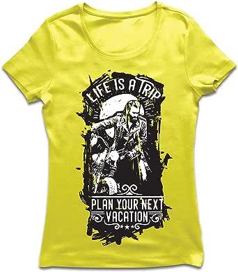 lepni.me Camiseta Mujer la Vida es un Viaje - Ideas de Regalos para Moteros, diseño gráfico de Bicicletas Vintage, amar Las Motocicletas
