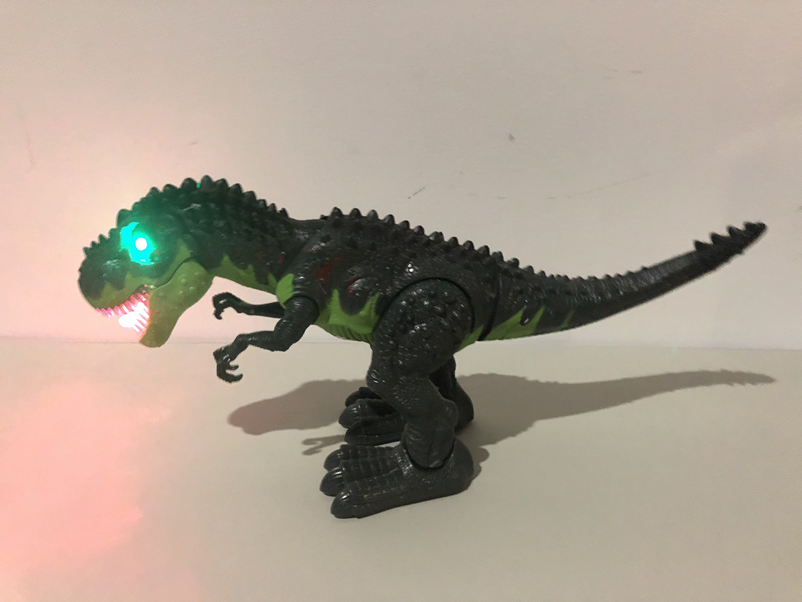 SY WonderPlay Tyrannosaurus T-Rex Dinosaur with Lights and Realistic Sounds Action Figure Toy - Light Up Eyes, Awesome Sounds - Walks on Its Own! - Great Gift Boys 3+,Battery Operate (Green) by SY (Image #7)