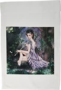 3dRose fl_11646_1 an Mythical Elf Creature of The Forest Who Plays a Haunting Melody on an Enchanted Flute Garden Flag, 12 by 18-Inch