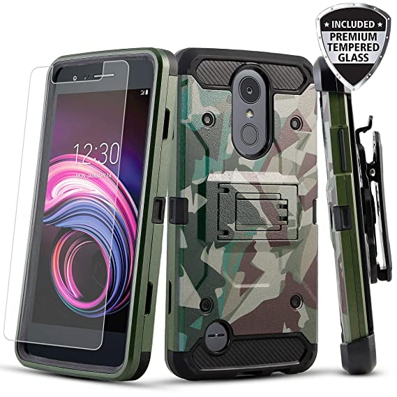 LG Aristo 3 / Aristo 2 / Risio 3 / Rebel 3 / Aristo 2 Plus/Case, TownShop  Hybrid Kickstand Cover with Belt Clip Holster Case with [Tempered Glass