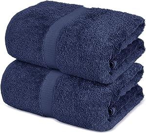 Towel Bazaar 100% Turkish Cotton Bath Sheets, 700 GSM, 35 x 70 Inch, Eco-Friendly (2 Pack, Navy Blue)