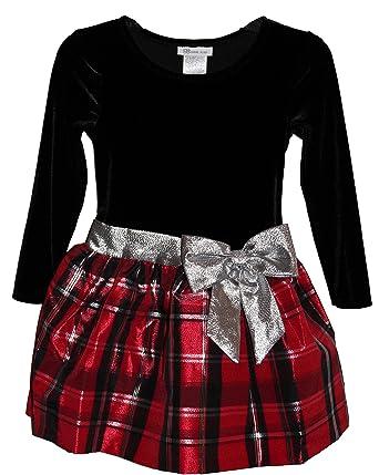 66a39f892 Amazon.com  Bonnie Jean Velvet to Plaid Red Silver Bow Christmas ...