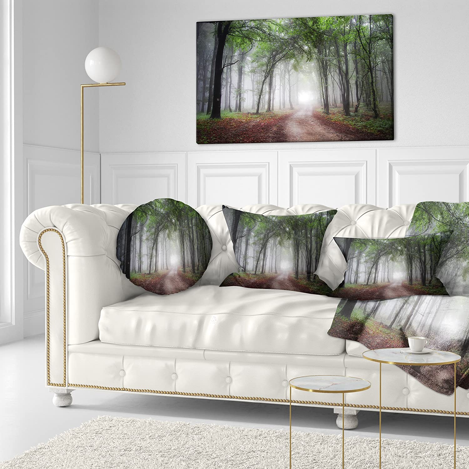 Sofa Throw Pillow 20 Insert Printed On Both Side Designart CU9783-20-20-C Light Through Green Fall Forest Landscape Photography Round Cushion Cover for Living Room