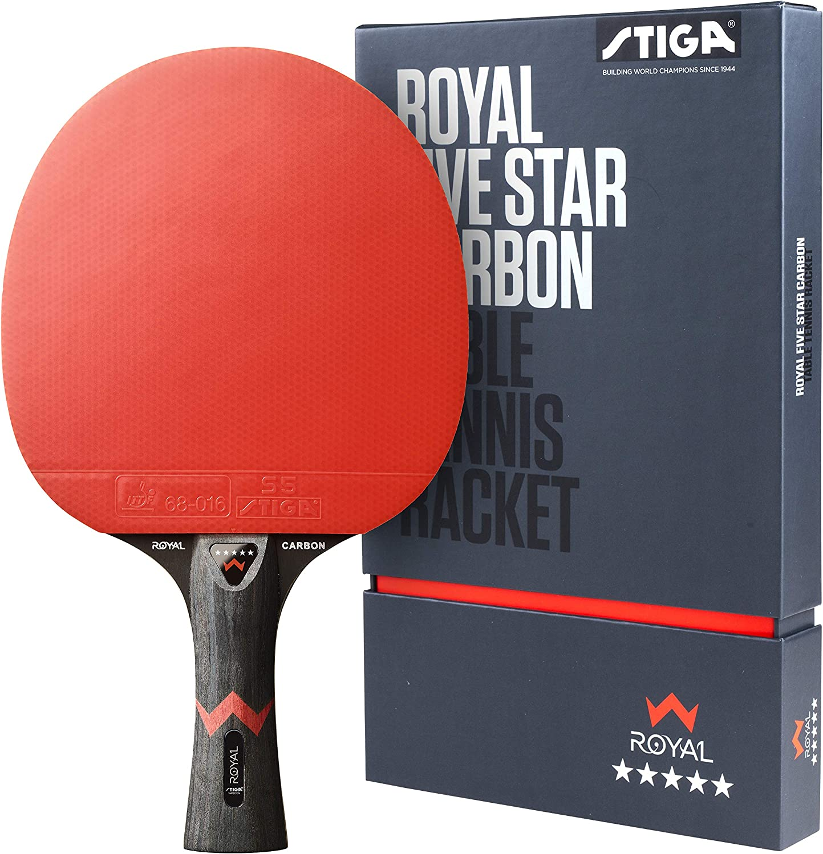 STIGA Royal Five Star Carbon Pala de Tenis de Mesa, Unisex-Adult, Black/Red, One Size