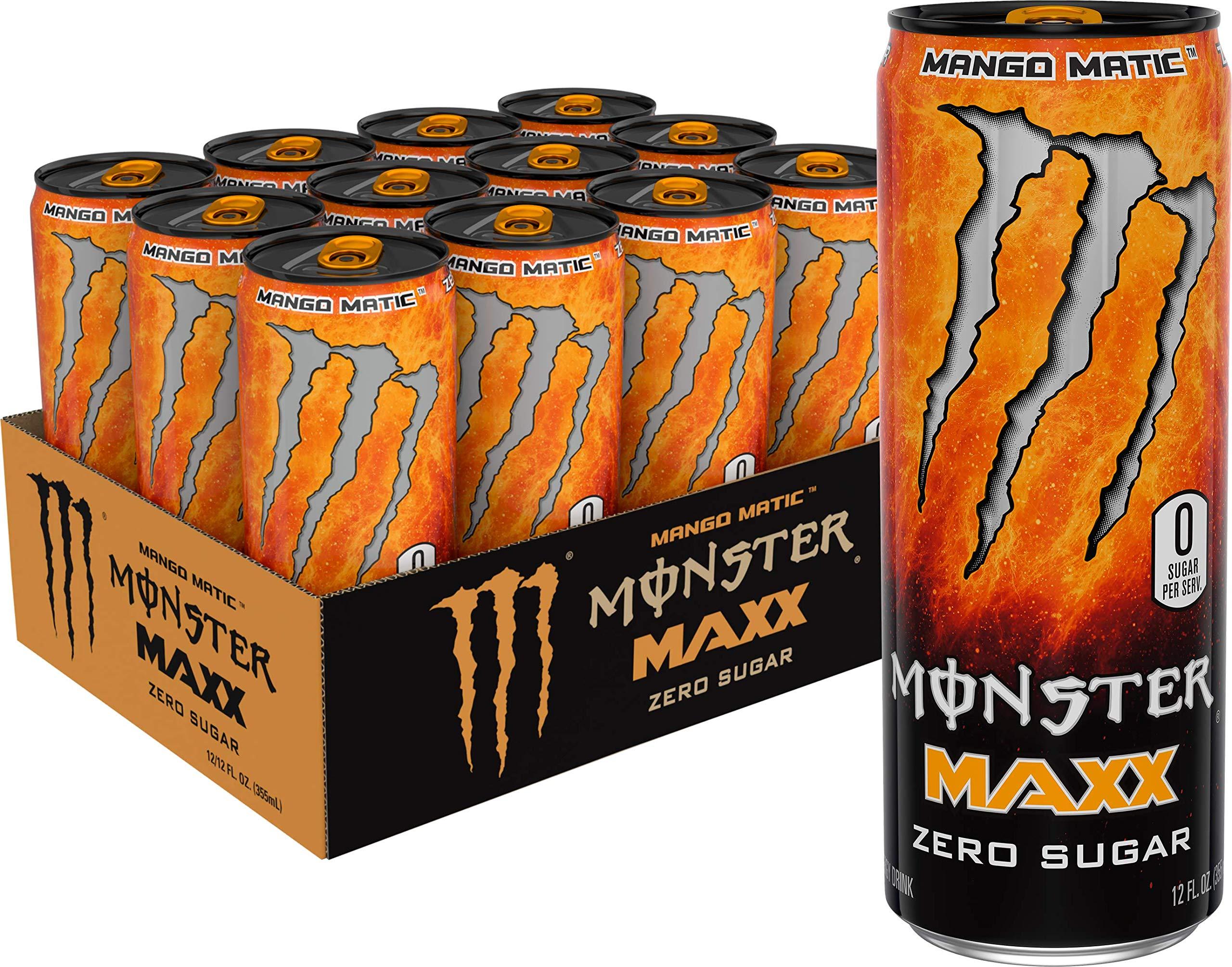 Monster Energy Maxx Mango Matic, Zero Sugar, Energy Drink, 12 Oz (Pack Of 12)
