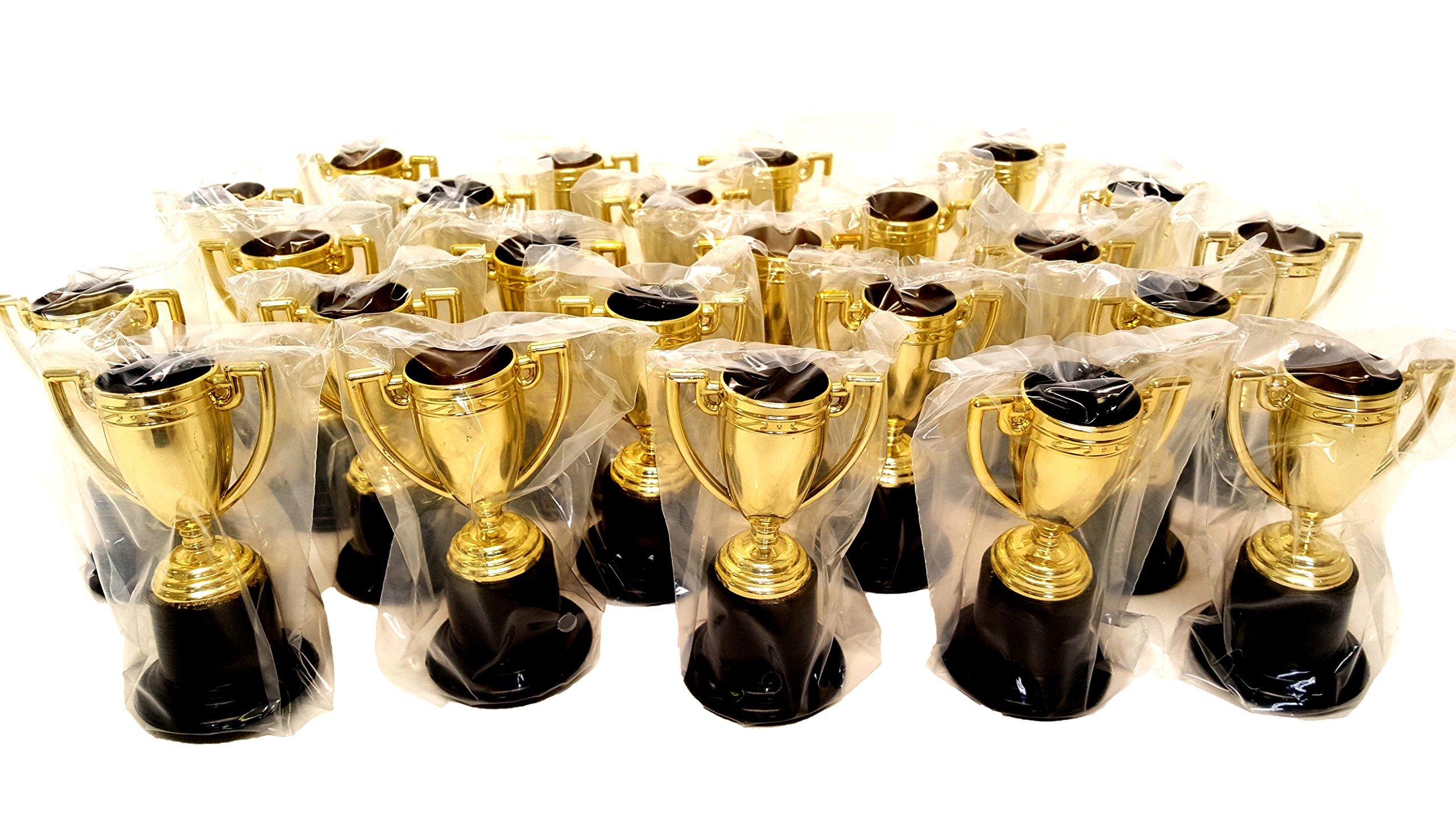 Plastic Gold Trophies, Oscar Trophy, Thumbs Up Trophy, High Five Trophy, Youre #1 Trophy, Star Trophy, Banana Trophy, by Playscene0153; (4'' Inch, Gold Trophy - 24 Pack)