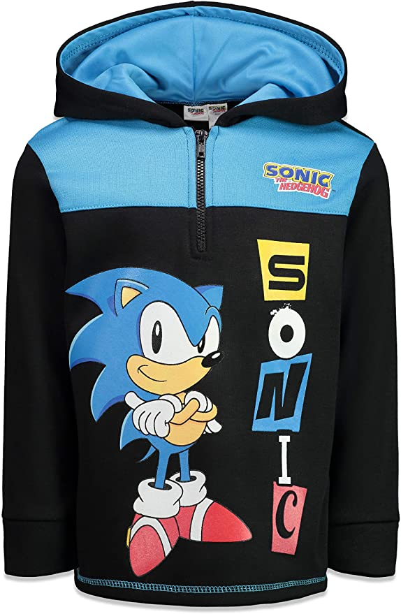 Amazon Com Sega Sonic The Hedgehog Boys Pullover Hoodie With Zipper Clothing