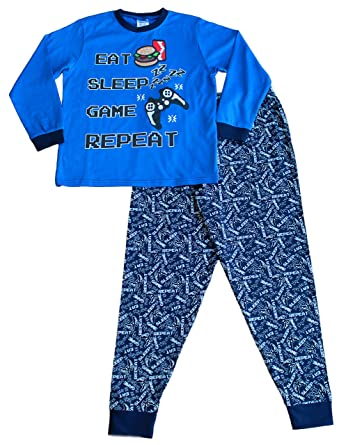 Boys Long Pjs Eat Sleep Game Zzz All Over Print Pyjamas Blue 7 to 13 Years ( 9-10 Years)  Amazon.co.uk  Clothing e751b7403