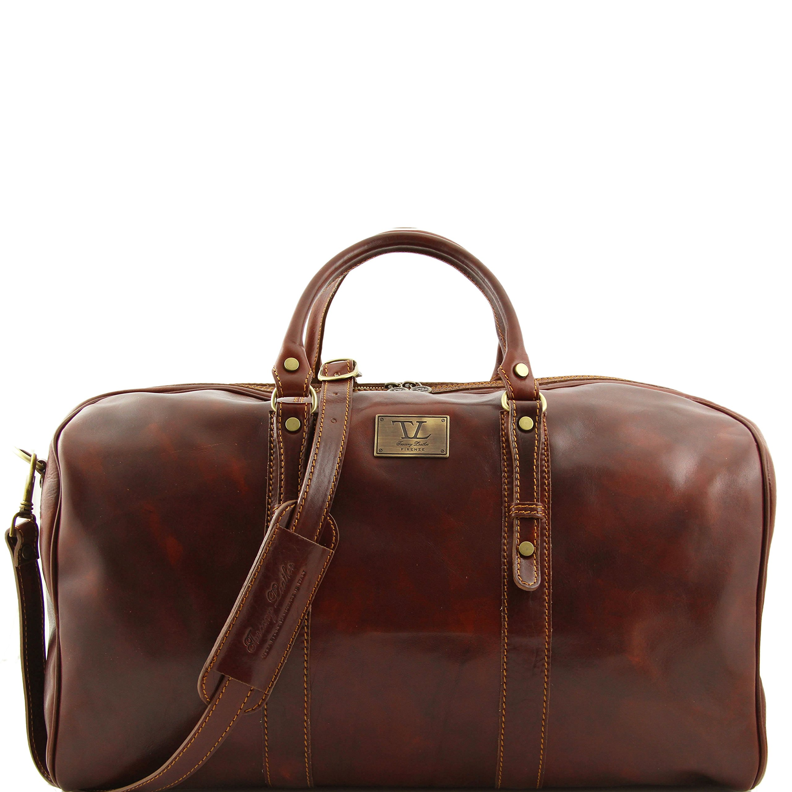 Tuscany Leather Francoforte Exclusive Leather Weekender Travel Bag - Large size Brown