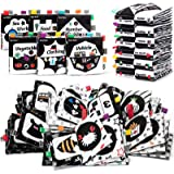 teytoy High Contrast Soft Books Black and White Baby Book Cloth Crinkle with Bell Colored Tag Visual Stimulation Newborn Sens