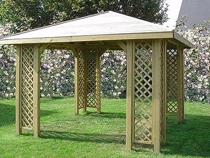 Cenador de madera para jardín de 3 x 3 m, postes de 70 x 70 mm, pérgola de madera para el jardín
