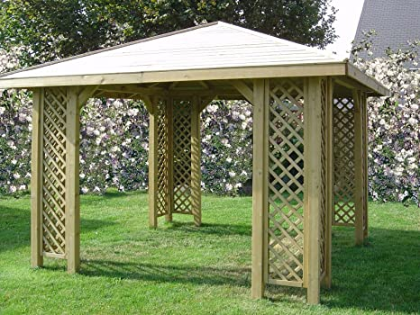 Cenador de madera para jardín de 3 x 3 m, postes de 70 x 70 mm, pérgola de madera para el jardín: Amazon.es: Hogar