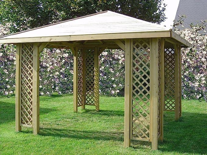 Cenador de madera para jardín de 3 x 3 m, postes de 70 x 70 mm ...