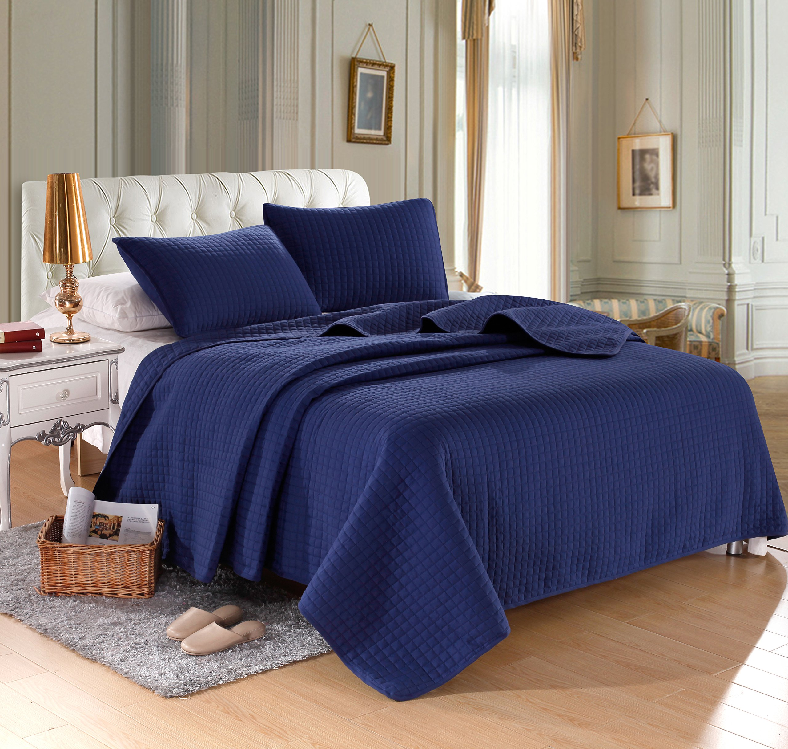 Navy Solid Color Quilt 86''L-86''W, 2 Shams 20''L-26''W (inner 19''-25''). Hypoallergenic, Finely Stitched, All Season, Coverlet, Bed-cover, Washable, Durable.
