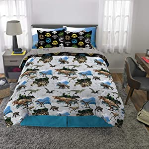 Franco Kids Bedding Super Soft Comforter and Sheet Set with Bonus Sham, 7 Piece Full Size, Jurassic World