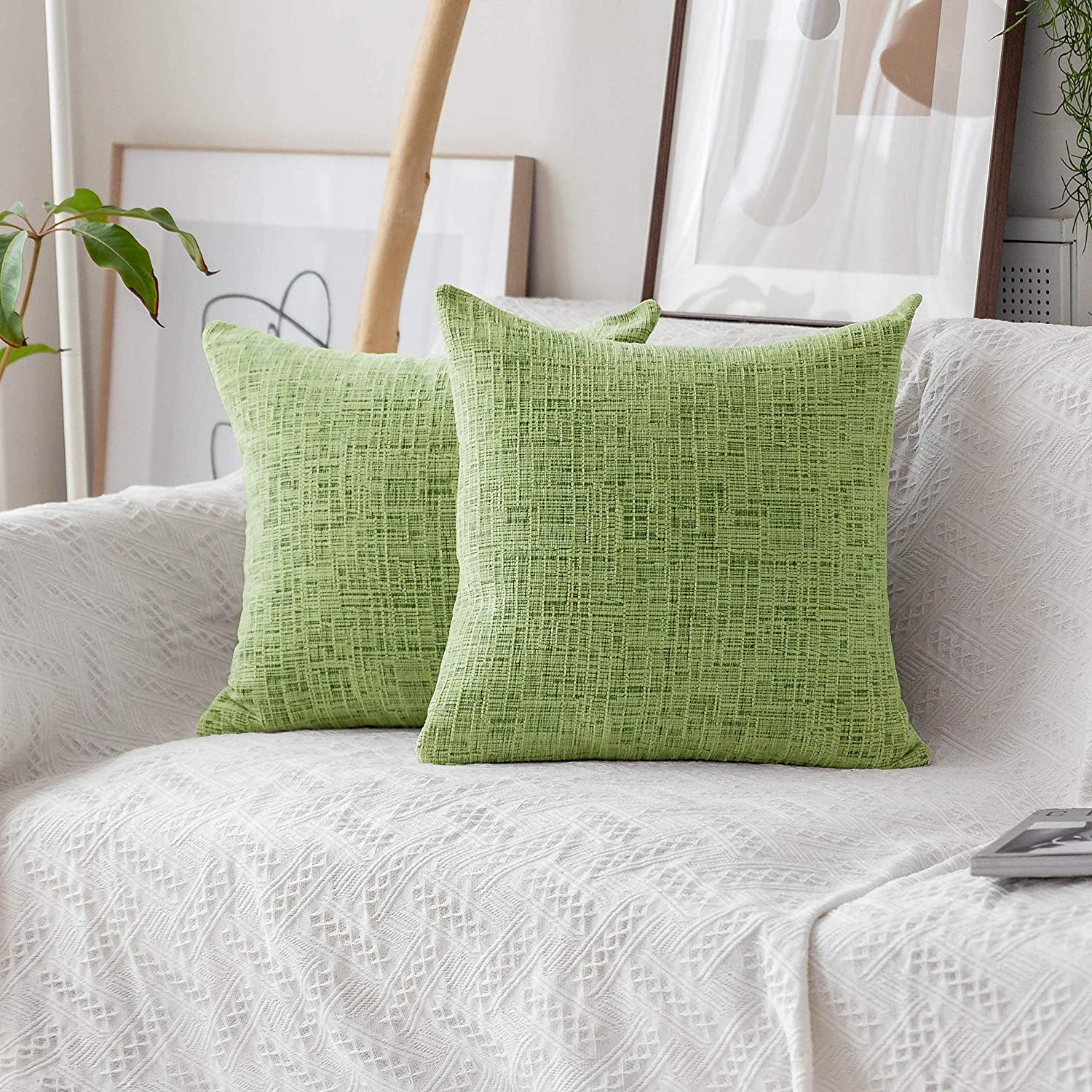 Home Brilliant Large Throw Pillow Covers Chenille Velvet Decorative Cushion Cover for Patio, 66x66cm (26inch) Set of 2, Apple Green