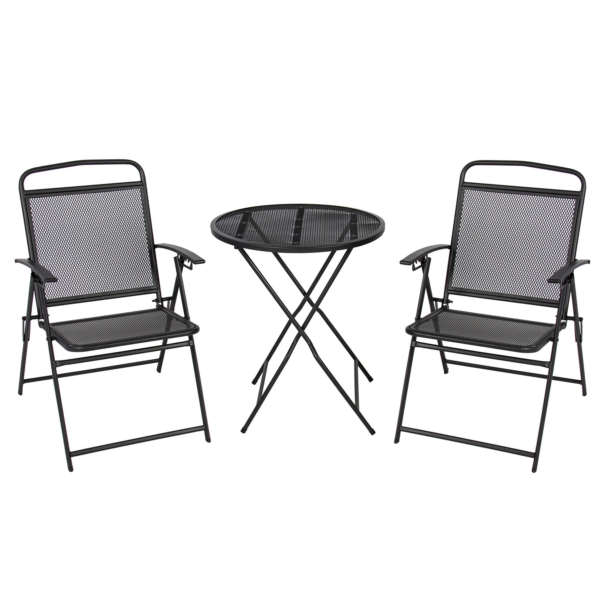 Best Choice Products 3-Piece Adjustable Foldable Compact Outdoor Bistro Set w/Reclining Chairs - Black