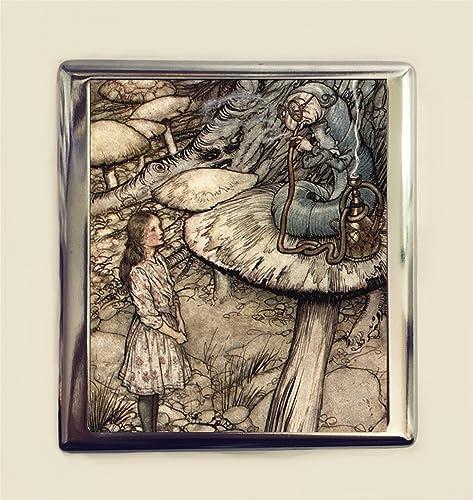 Alice In Wonderland Cigarette Case Business Card ID Holder Arthur Rackham Caterpillar Lewis Carroll