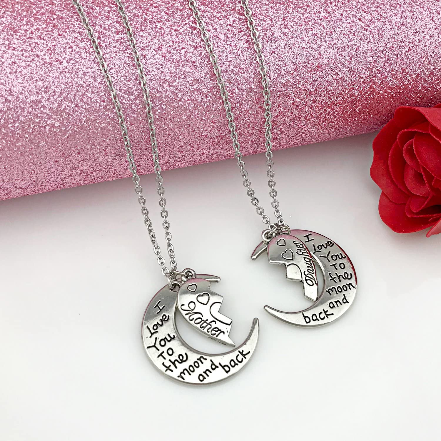 Amazon Com Youfeng I Love You To The Moon And Back Mother Daughter Moon Love Heart Necklace Pendant 2pc Mom Daughter Necklace Jewelry