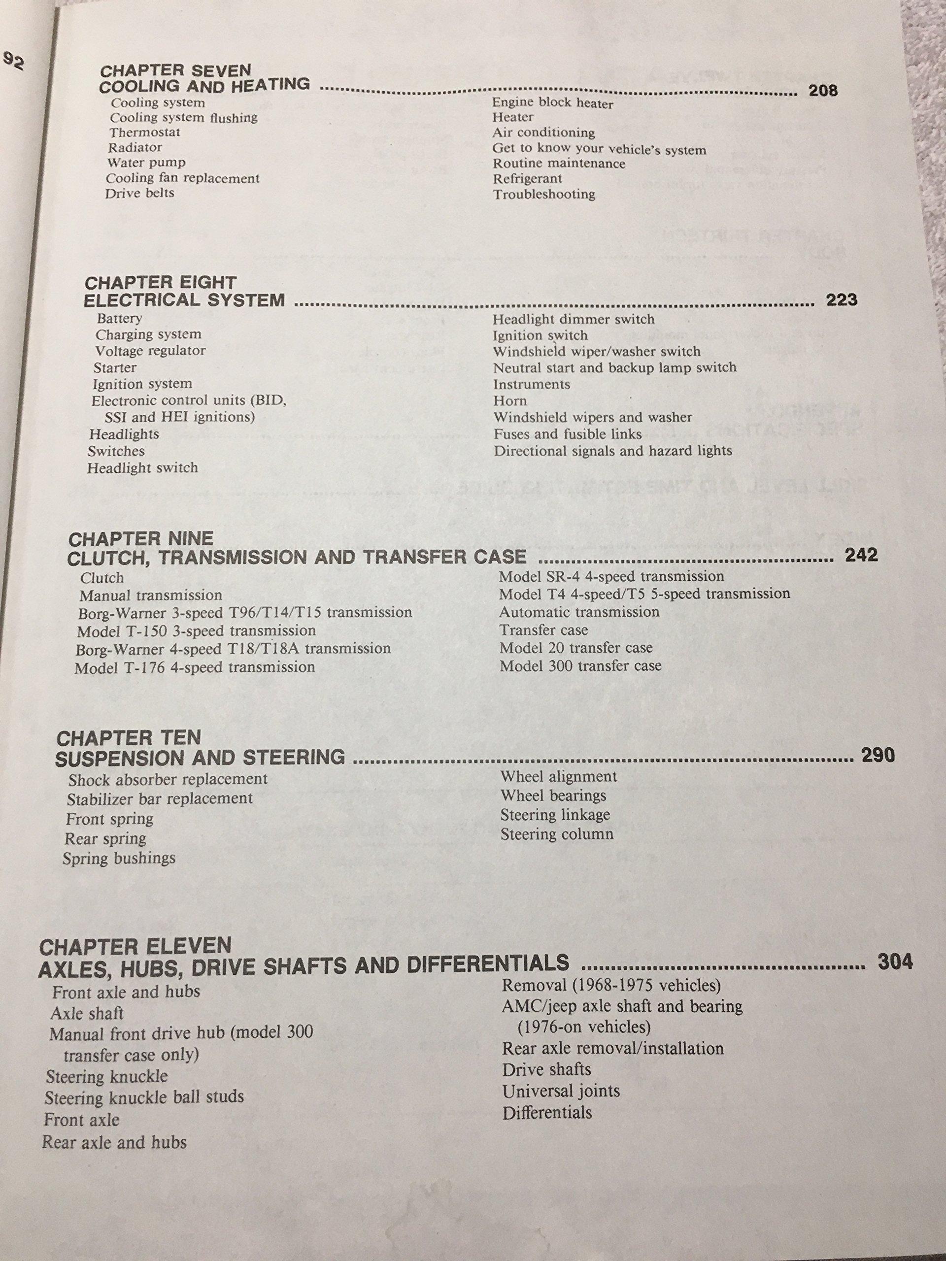 Amc Jeep Super Shop Manual Cj 5 6 7 1968 1986 And Transmissions 9780892874538 Books