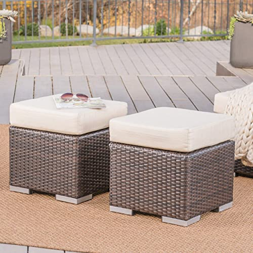 Great Deal Furniture Malibu Outdoor 16 Inch Multibrown Wicker Ottoman Seat with Beige Water Resistant Cushion Set of 2