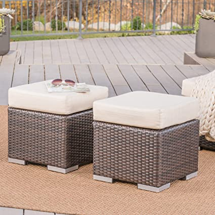 Astounding Great Deal Furniture Malibu Outdoor 16 Inch Multibrown Wicker Ottoman Seat With Beige Water Resistant Cushion Set Of 2 Caraccident5 Cool Chair Designs And Ideas Caraccident5Info