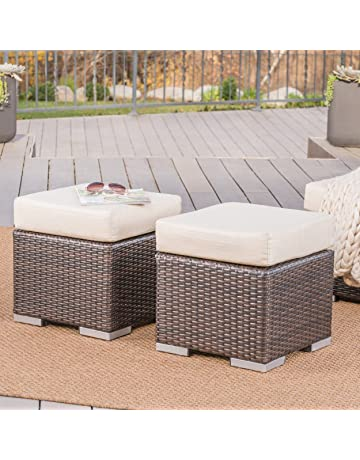 Delicieux Great Deal Furniture Malibu Outdoor 16 Inch Multibrown Wicker Ottoman Seat  With Beige Water Resistant Cushion