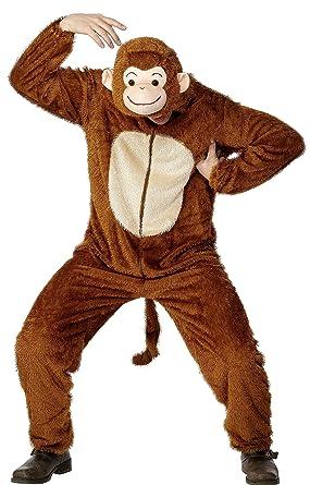 smiffys adult unisex monkey costume jumpsuit with hood party animals serious fun - Halloween Monkey Costumes