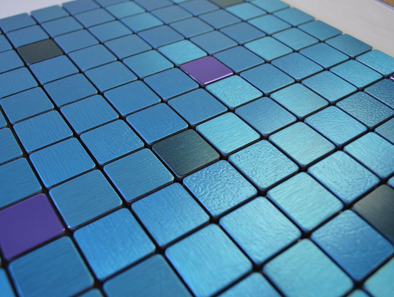 FLEXIPIXTILE Modern Aluminum Mosaic Tile, Peel & Stick, Backsplash, Accent Wall, 1 sq.ft,AQUARIUS