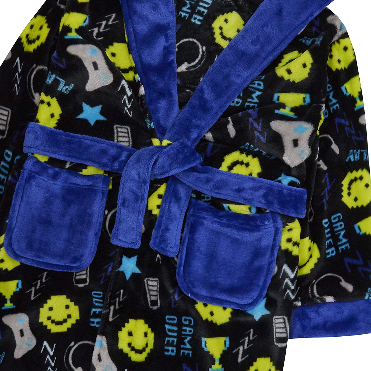 Boys Dressing Gown Robe Plush Hooded Computer Game Player