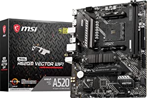 MSI MAG A520M Vector WiFi Gaming Motherboard (AMD AM4, DDR4, PCIe 3.0, SATA 6Gb/s, 1 M.2, USB 3.2 Gen 1, HDMI/DP, WiFi 5, Micro-ATX)