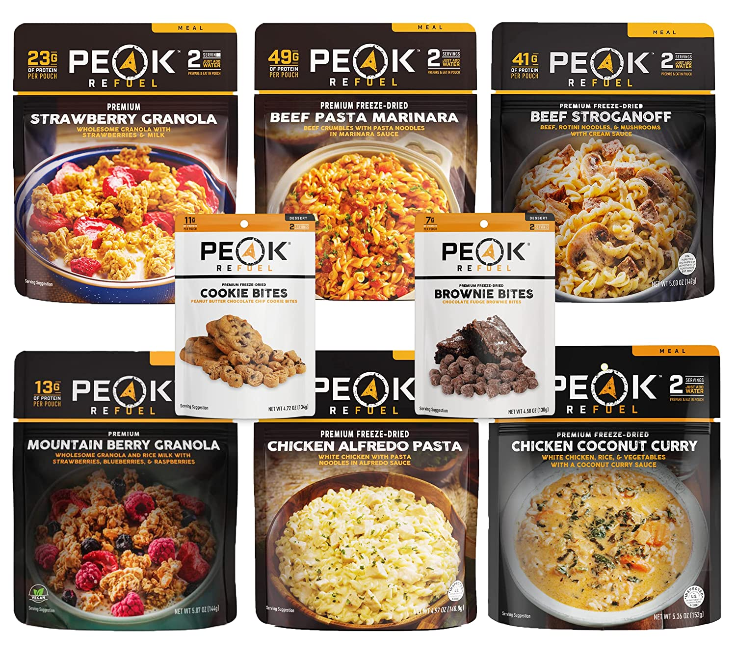 Peak Refuel Mountain Pack   Freeze Dried Lightweight Backpacking and Camping Food   6 Amazing Meals, 2 Desserts   Variety Pack   High Protein   Quick Prep