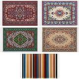 5 Pieces 1:12 Miniature Carpet Floral Print Vintage Woven Rugs Miniature Turkey Rugs Dolls House Rugs Dollhouse Floor Blanket